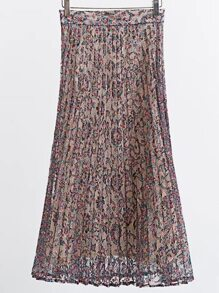 Multicolor Floral Lace Pleated Skirt