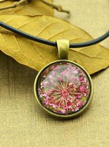 Hotpink Vintage Flower Pattern Round Pendant Necklace For Women