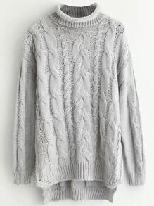Grey Cable Knit Roll Neck Dip Hem Sweater