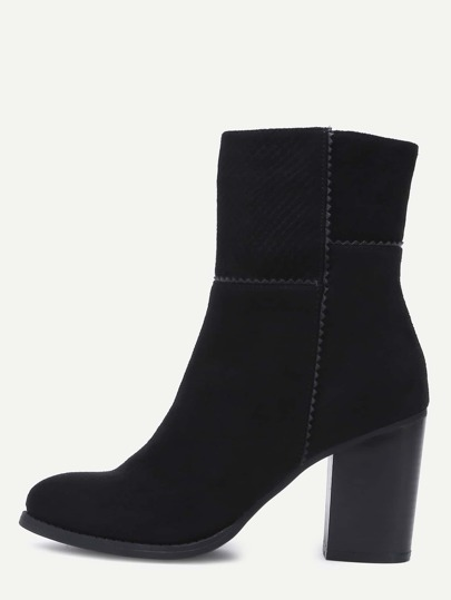 Black Pointed Toe Chunky Heel Short Boots