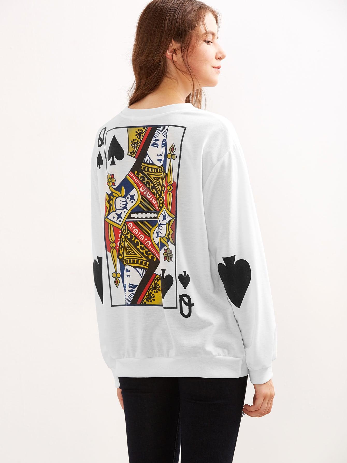 Queen Of Spades Print Loose Sweatshirt sweatshirt160829102