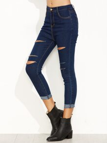 Blue Ripped Skinny Cuffed Jeans