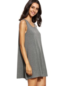 Grey Sleeveless Casual Shift Dress