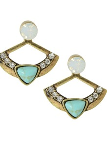 Antique Gold Rhinestone Turquoise Earrings