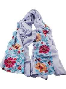 Foulard en coton imprimé fleuri style bohémien - gris clair