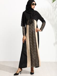 Muslim Stitching Long Sleeve Long Sleeve Islamic Kaftan Abaya Maxi Dress