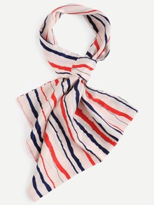 Multicolor Random Stripe Satin Scarf