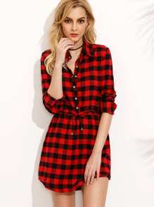 Red Plaid Drawstring Waist Shirt Dress