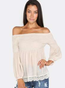 Ruched Lace Babydoll Top IVORY