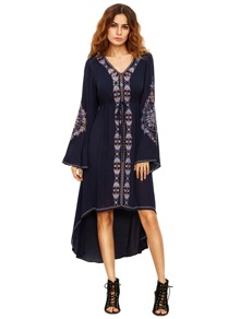 Navy Bell Sleeve Tribal Print Dress
