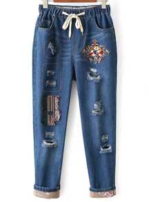 Blue Tribal Embroided Ripped Drawstring Waist Jeans