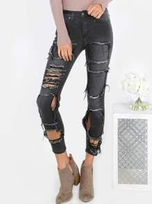 Frayed Over Faded Black Skinnies CHARCOAL
