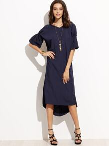 Navy Knot Back Puff Sleeve Dress