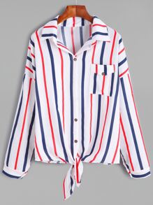 Vertical Striped Drop Shoulder Knotted Hem Shirt