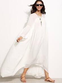 White Lantern Sleeve High Low Tent Dress. AddThis Sharing Buttons : white tent dress - memphite.com