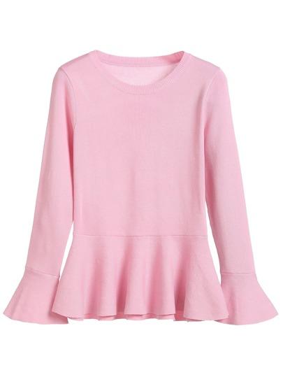 Pink Ruffle Hem Sweater