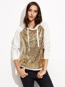 Gold Sequin Contrast Raglan Sleeve Hoodie
