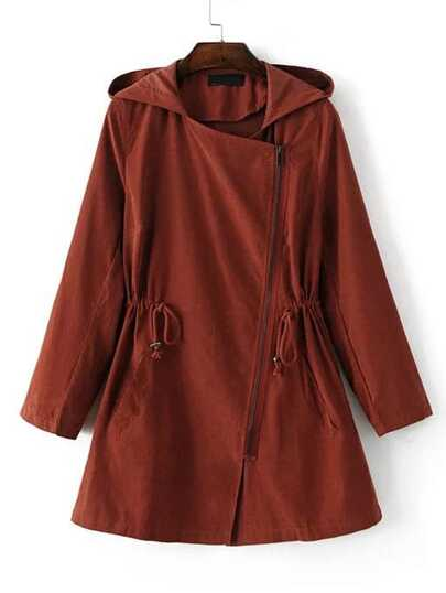 Hooded Asymmetric Zipper Drawstring Outerwear