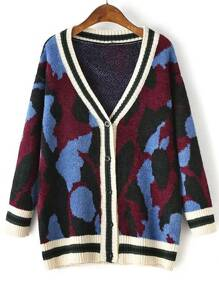 Blue Leopard Print Striped Trim Buttons Front Sweater Coat