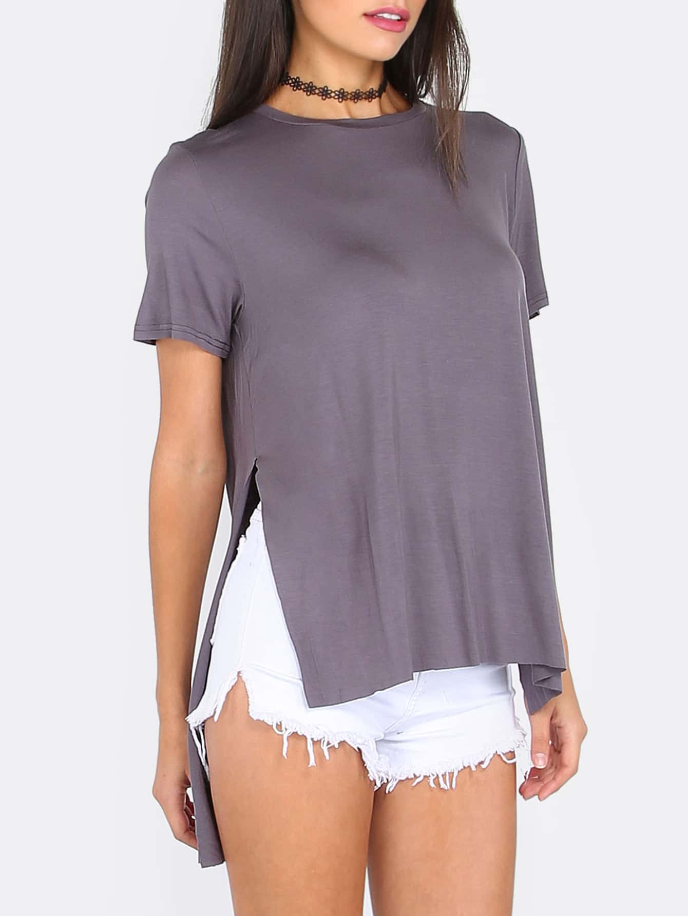 Dark Grey Split Side Short Sleeve High Low T-shirt teemmc160728724