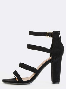 Four Strap Open Toe Chunky Heels BLACK