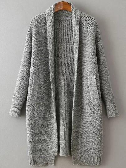 Veste pull longue col en châle - gris