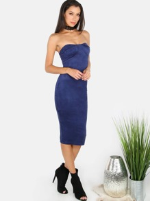 Faux Suede Bodycon Tube Dress NAVY