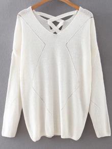 White V Neck Criss Cross Back Knitwear
