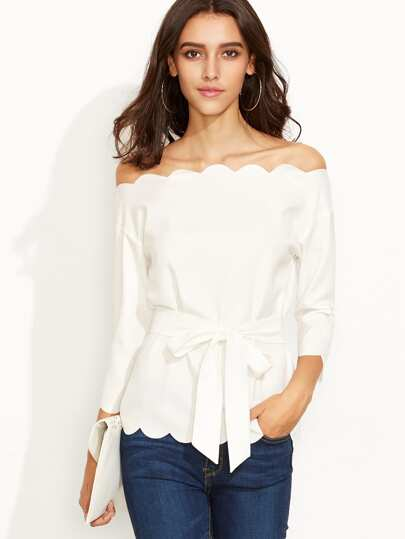 White Belted Scallop Trim Off The Shoulder Top