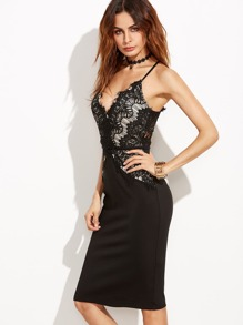 Black Lace Overlay Cami Pencil Dress