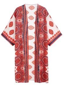 Red Tribal Print Kimono