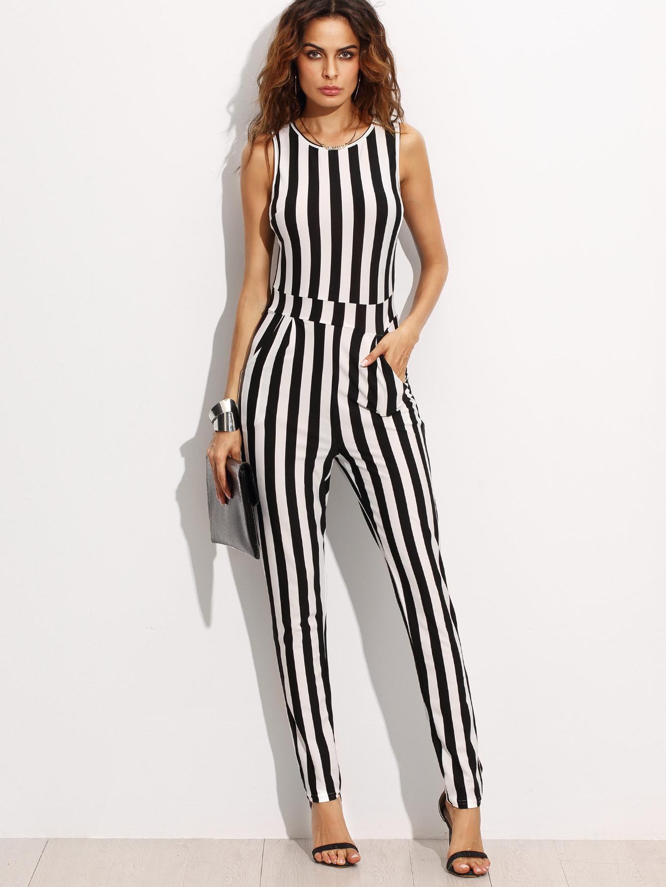 Contrast Vertical Stripe Sleeveless Keyhole Back Jumpsuit contrast vertical stripe sleeveless keyhole back jumpsuit