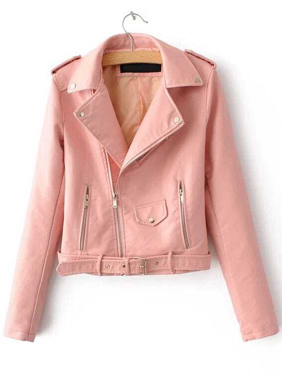 Pink Faux Leather Belted Moto Jacket With Zipper -SheIn(Sheinside)