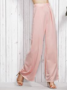Pink Mid Waist Pockets Wide Leg Long Pants