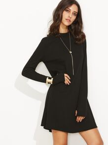 Black Mock Neck Long Sleeve Shift T-shirt Dress