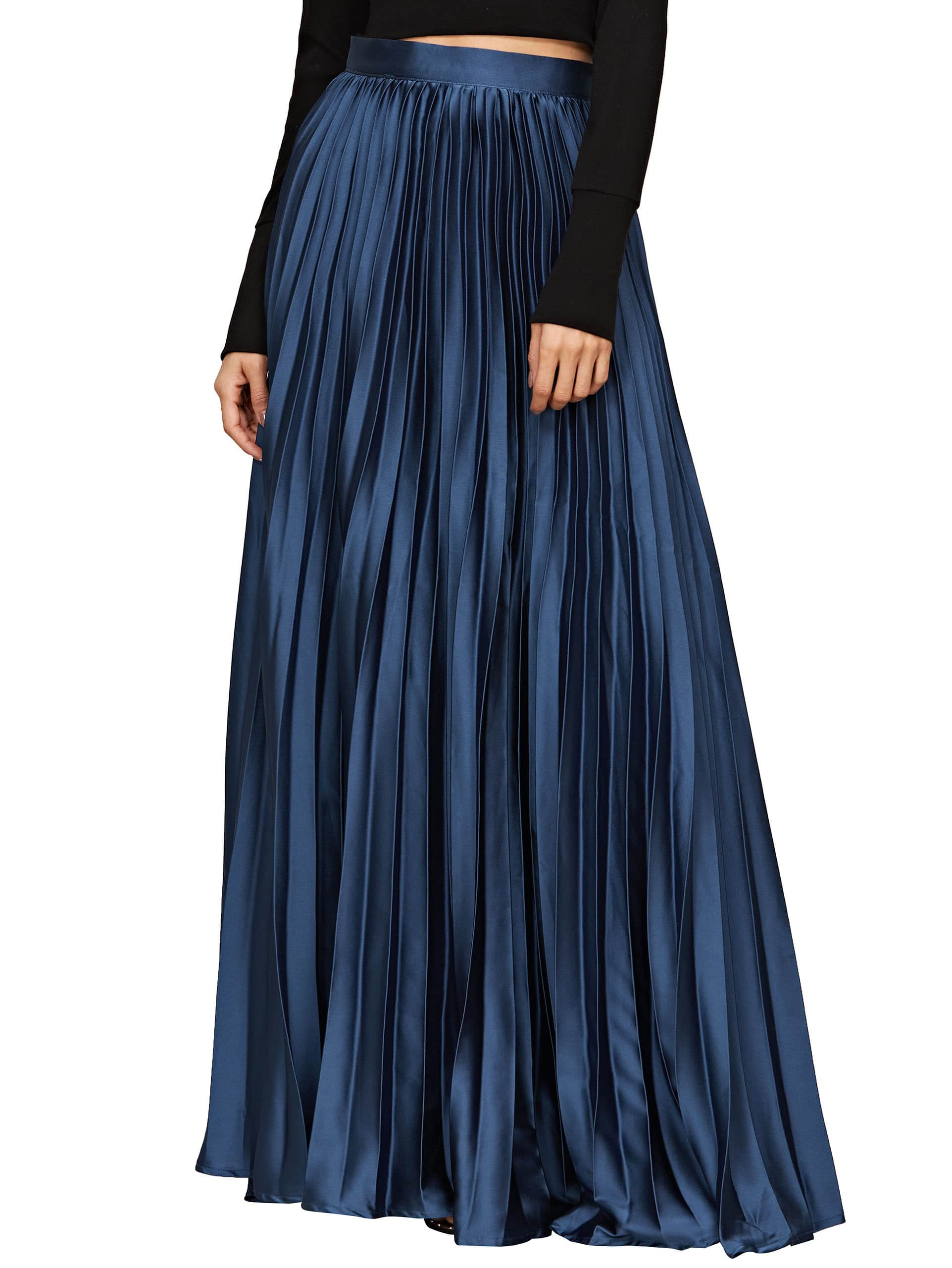 Satin Pleated Full Length Skirt -SheIn(Sheinside)