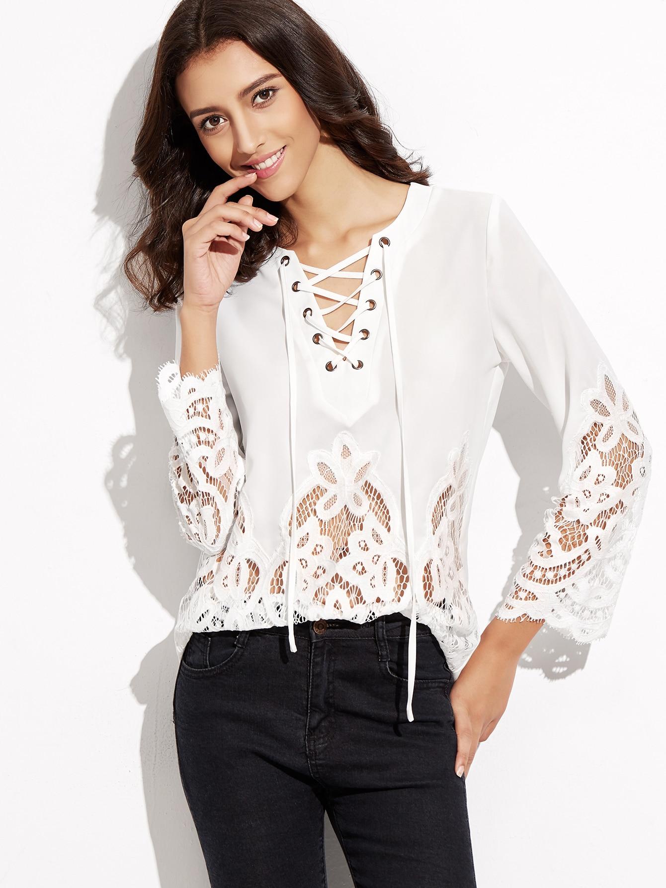 Блузы вставки кружева 178
