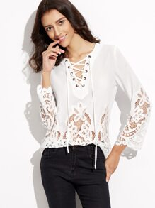 White Lace Up V Neck Embroidered Lace Insert Top