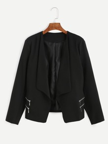 Black Draped Collar Zipper Blazer