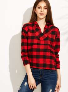 Red Check High Low Hooded Sweatshirt