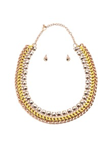Yellow Wide Chain Jewellery Set