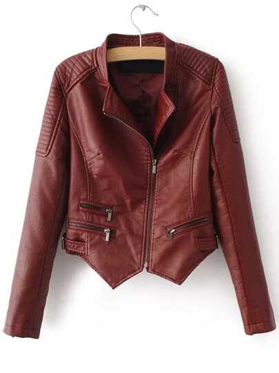 Red Oblique Zipper Asymmetrical Crop PU Jacket