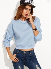 Blue Drop Shoulder Crop Sweatshirt