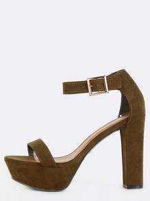 Faux Suede Ankle Strap Platform Heels OLIVE
