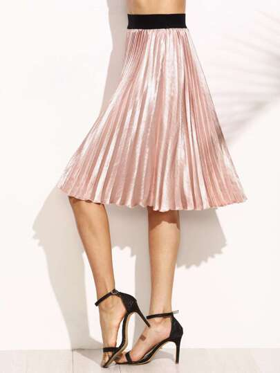 Pink Contrast Waistband Pleated Satin Skirt