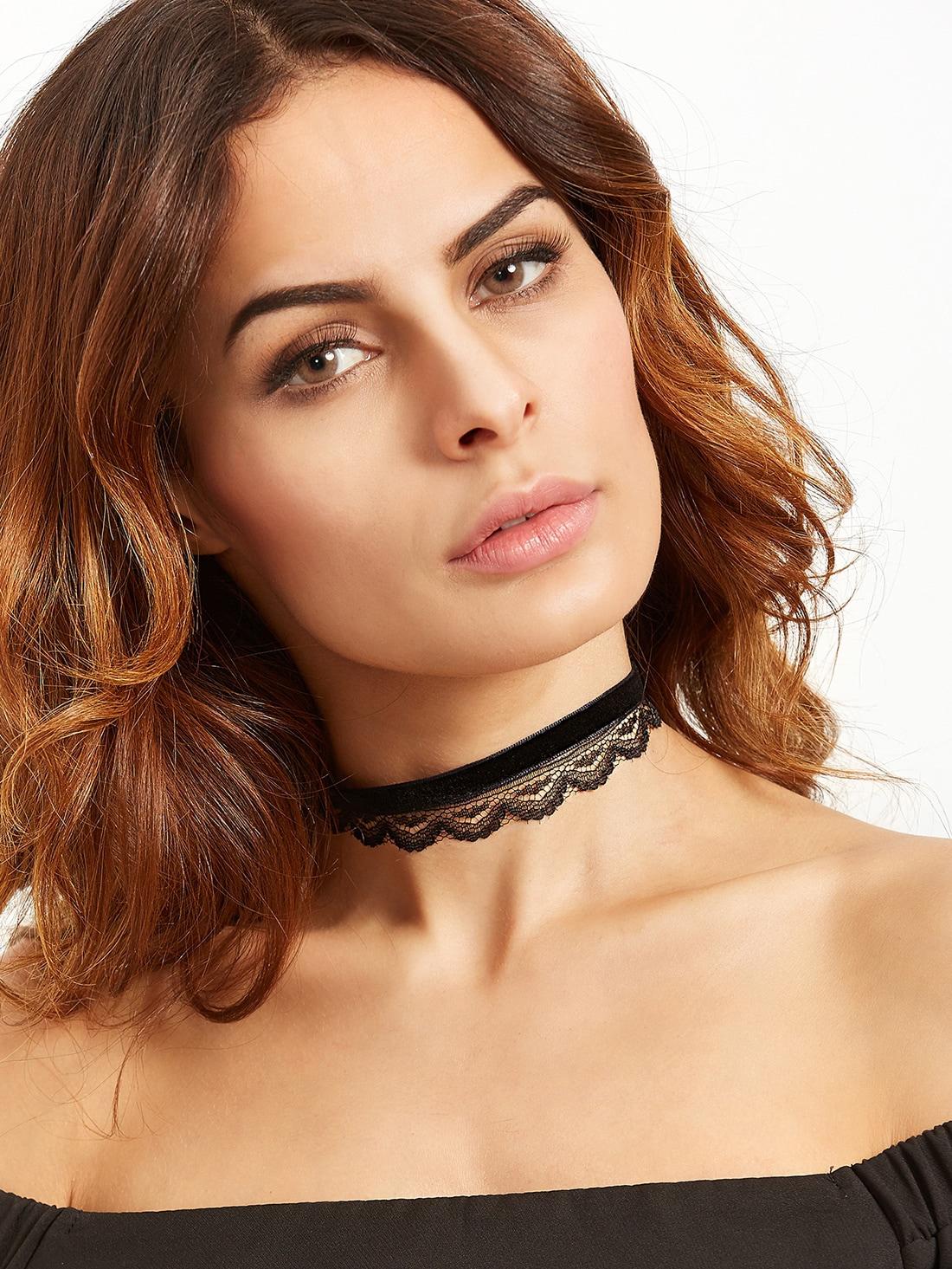 Black Double Layer Velvet Lace Choker Necklace