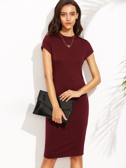 Wine Red Crew Neck Sheath Dress