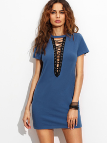 Royal Blue Lace Up Front Short Sleeve Sheath Dress