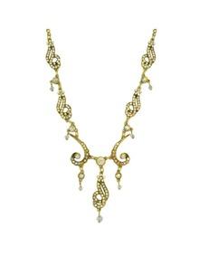 Beige Rhinestone Wedding Necklace