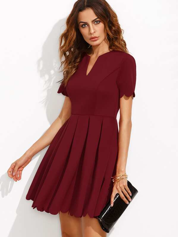 V Cut Neck Scalloped Hem Fit And Flare Dress